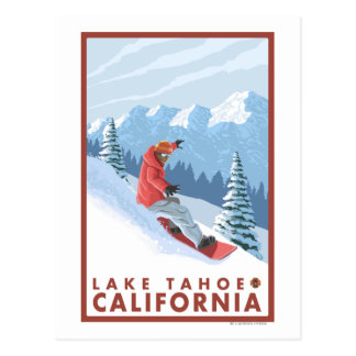 Snowboarder Scene - Lake Tahoe California Post Card