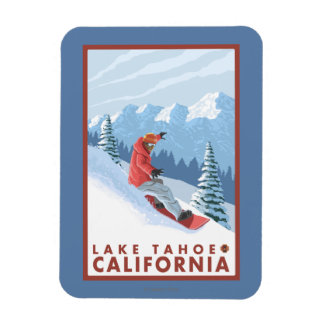 Snowboarder Scene - Lake Tahoe, California Rectangular Photo Magnet