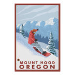 Snowboarder Scene - Mount Hood, Oregon Poster