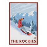 Snowboarder Scene - The Rockies Poster