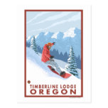 Snowboarder Scene - Timberline Lodge, Oregon Postcard