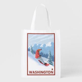 Snowboarder Scene - Washington Reusable Grocery Bag