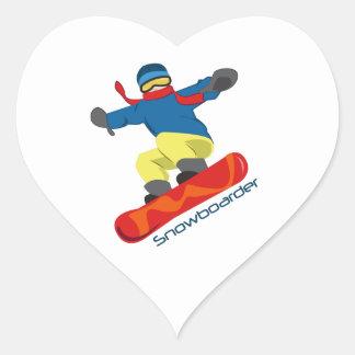 Snowboarder Heart Sticker