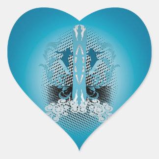 Snowboarder with blue damasks heart sticker