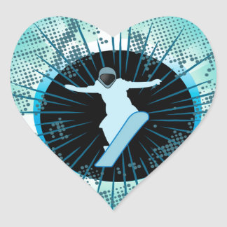 Snowboarder with grunge and damasks heart sticker