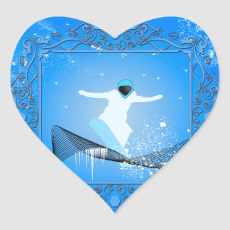 Snowboarder with snowflakes heart sticker