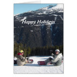 Snowboarders with a Scenic Mountain View Greeting Card