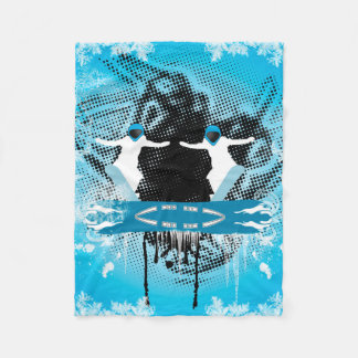 Snowboarders with snowflakes grunge, and damasks fleece blanket