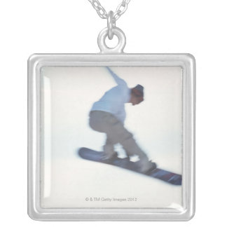 Snowboarding 11 silver plated necklace