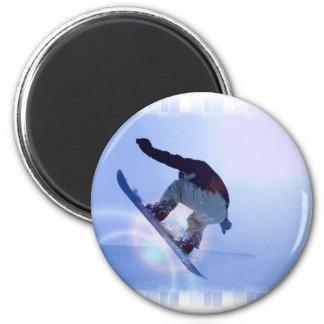 snowboarding-12 6 cm round magnet