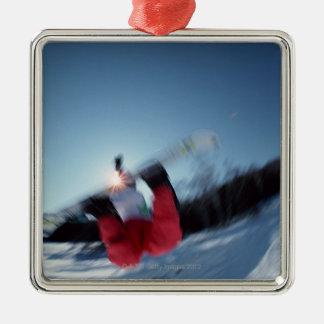 Snowboarding 12 Silver-Colored square decoration
