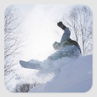 Snowboarding 13 square sticker