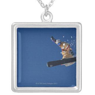 Snowboarding 14 square pendant necklace