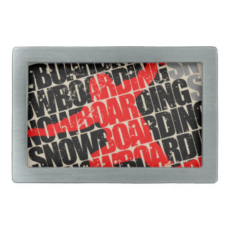 Snowboarding #1 (blk) rectangular belt buckle