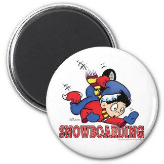 Snowboarding 2 6 cm round magnet