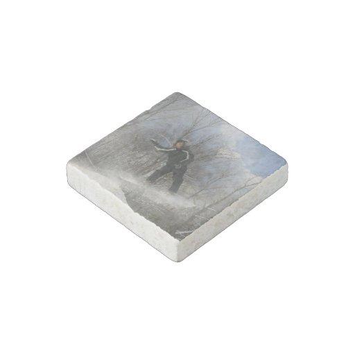 Snowboarding 360 stone magnet