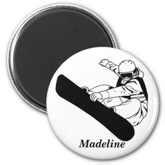 Snowboarding 3 6 cm round magnet