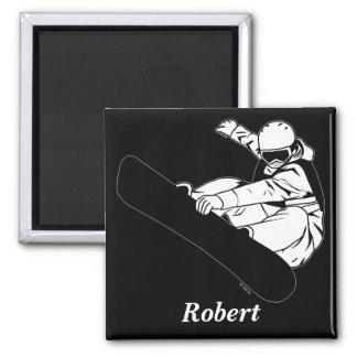 Snowboarding 3 square magnet