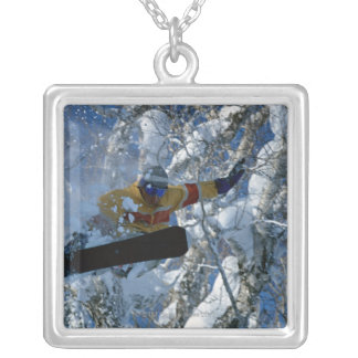 Snowboarding 3 silver plated necklace