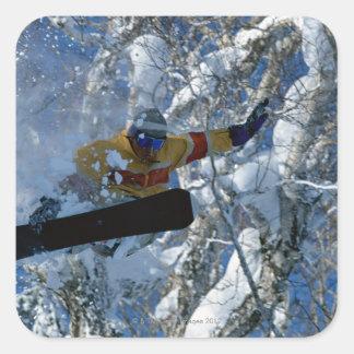 Snowboarding 3 square sticker