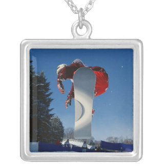 Snowboarding 5 silver plated necklace