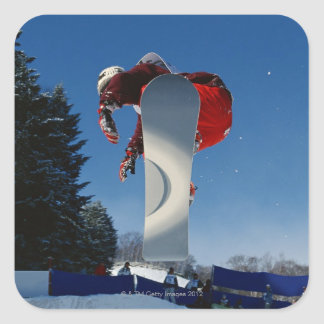 Snowboarding 5 square sticker