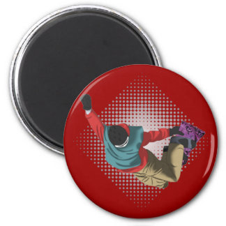 Snowboarding 7 6 cm round magnet