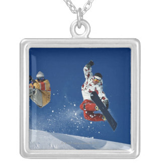 Snowboarding 8 silver plated necklace