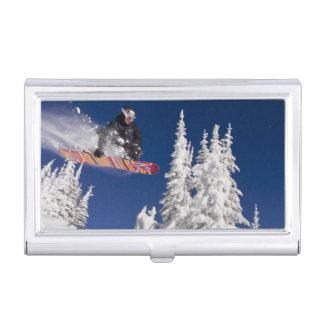 Snowboarding action at Whitefish Mountain Resort Business Card Holder