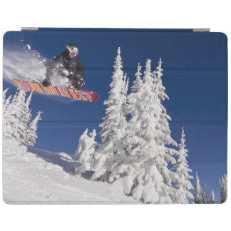 Snowboarding action at Whitefish Mountain Resort iPad Cover