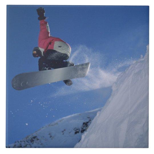Snowboarding at Snowbird Resort, Utah (MR) Large Square Tile