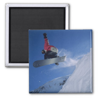 Snowboarding at Snowbird Resort, Utah (MR) Square Magnet