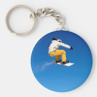 Snowboarding Basic Round Button Key Ring