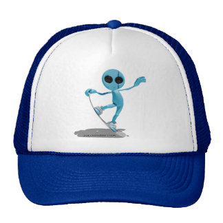 Snowboarding Blue Alien Hat