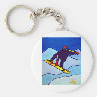 Snowboarding by Piliero Basic Round Button Key Ring