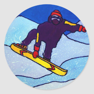 Snowboarding by Piliero Round Sticker