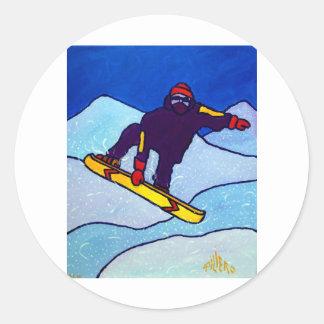 Snowboarding by Piliero Round Sticker