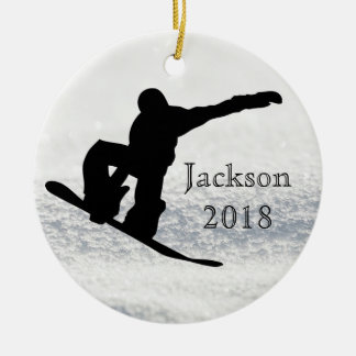 Snowboarding Christmas Black on Snow Round Ceramic Decoration