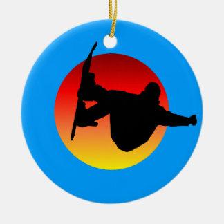 snowboarding christmas ornament