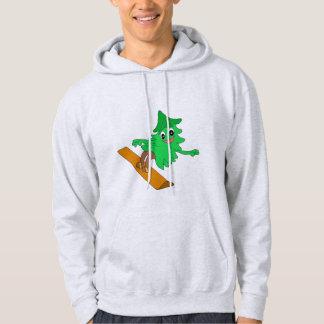 Snowboarding Christmas Tree Hoodie