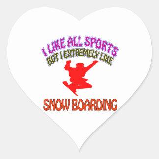 Snowboarding designs heart sticker