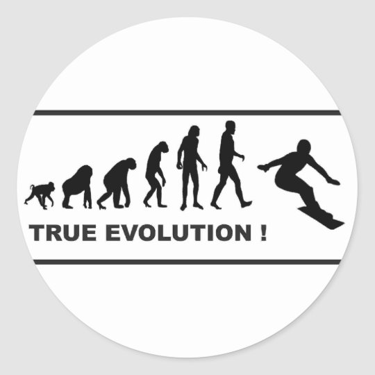 snowboarding evolution classic round sticker