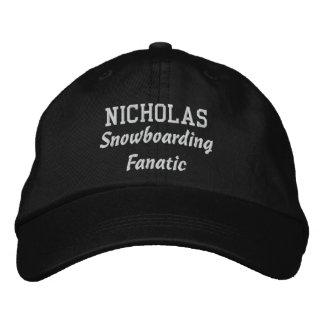 Snowboarding Fanatic Custom Name V07O Embroidered Hats