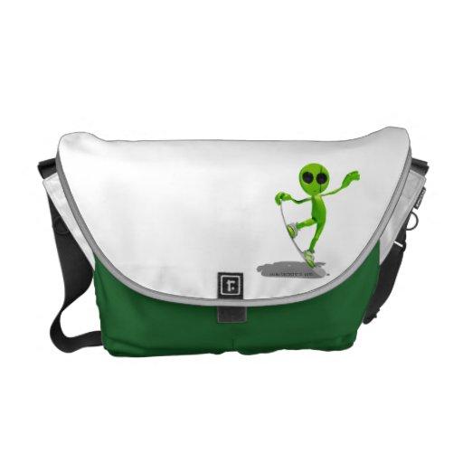 Snowboarding Green Alien Messenger Bag