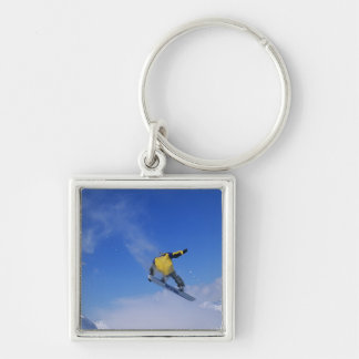 Snowboarding in Grizzly Gulch, Little Cottonwood Silver-Colored Square Key Ring