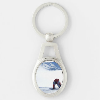 Snowboarding Silver-Colored Oval Key Ring