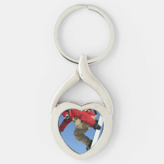Snowboarding Silver-Colored Twisted Heart Key Ring