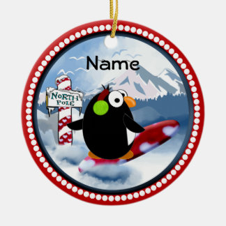 Snowboarding Penguin Christmas Ornament