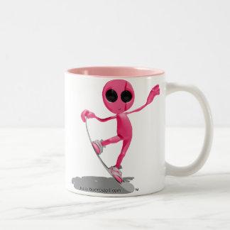 Snowboarding Pink Alien Mug