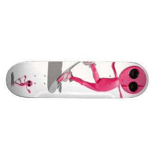 Snowboarding Pink Alien Skateboard